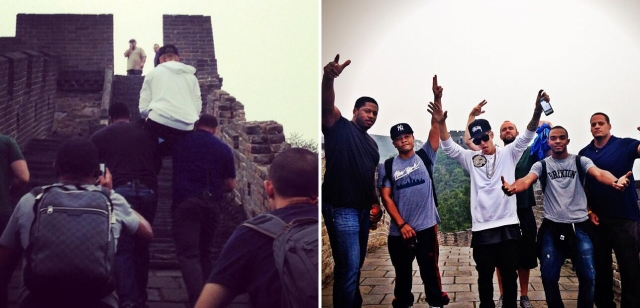 All Hail King Justin! Bieber Gets Carried Up the Great Wall of China